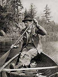 Photo of Dr. Zemlin paddling a canoe
